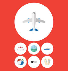 Flat icon summer set of aircraft sphere boat and vector