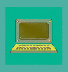 Flat shading style icon laptop vector