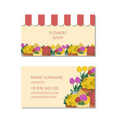 flowers shop business card template vector image