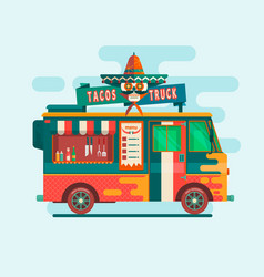 Food truck festival menustreet food vehicles flat vector