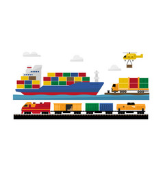 freight transportation by train ship helicopter vector image
