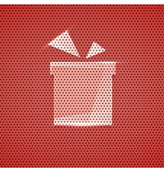 Gift icon metal red texture background vector