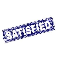 Grunge satisfied framed rounded rectangle stamp vector