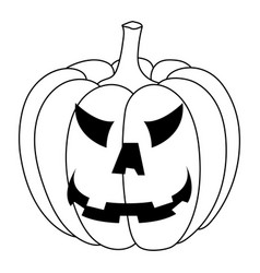 halloween pumpkin carved angry face black and vector image