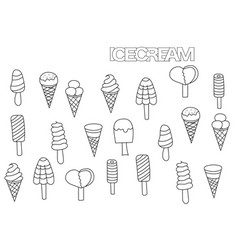 hand drawn ice cream set coloring book page vector image