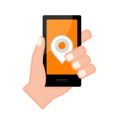 hand holding a smartphone with a pin icon vector image