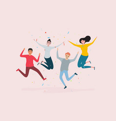 happy jumping office workershappy group friend vector image