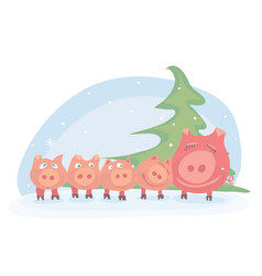 happy winter holiday vector image