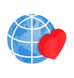 Heart of globe 3d isometric icon vector
