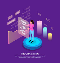 human programming isometric background vector image