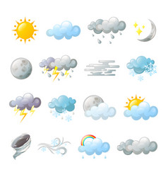 Icons for weather forecast or overcast cloud vector