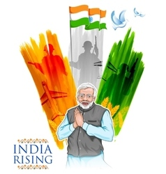 India tricolor flag background with proud Indian vector image