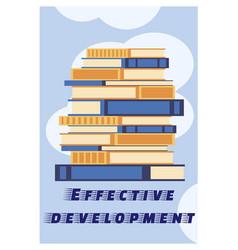 Inscription effective development cartoon flat vector