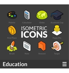 Isometric outline icons set 15 vector image