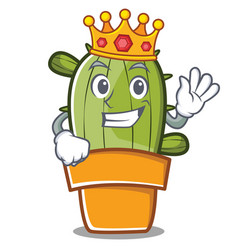 King cute cactus character cartoon vector