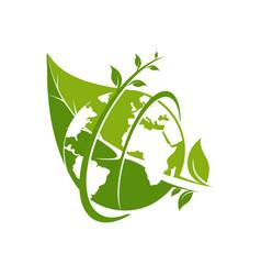leaf green earth logo template vector image