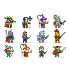 Lineart fantasy set rpg game heroes character vector