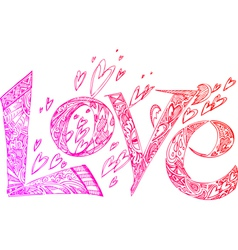LOVE pink doodles vector image