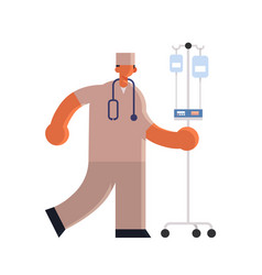 Male doctor anesthesiologist in uniform holding vector