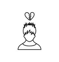 Man with broken heart over head icon vector