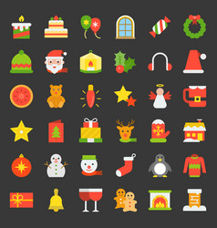 Merry christmas icon set 4 flat style vector