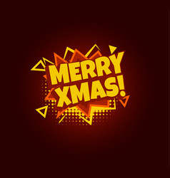 merry xmas comic speech bubble pop art design vector image