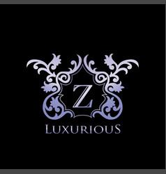 Metal luxury letter z elegant logo badge vector
