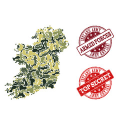 military camouflage composition of map of ireland vector image