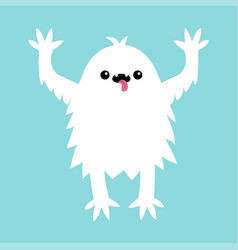 monster screaming spooky fluffy silhouette yeti vector image
