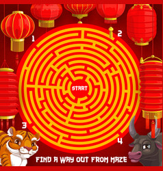 New year puzzle riddle holiday maze for kids vector