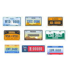 number plates car license american states isolated vector image