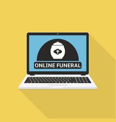 Online funeral service on laptop screen vector