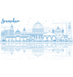 Outline jerusalem skyline with blue buildings and vector