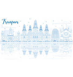 outline kanpur skyline with blue buildings and vector image