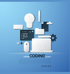 Paper concept coding front and back end vector