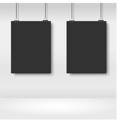 realistic black posters hanging on binder vector image