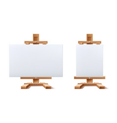 Realistic wooden easel blank canvas set vector