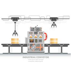 Robotic conveyor or smart factory horizontal belt vector