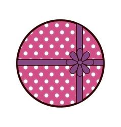 Round pink gift box present ribbon dots vector
