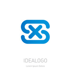 s and x logo xs - design element or icon initial vector image