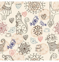 seamless cat background vector image