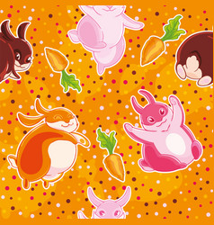 Seamless pattern with cartoon pretty rabbits and vector