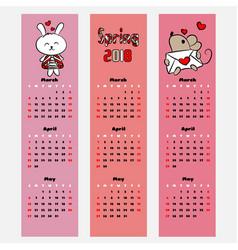 season calendar spring color bookmark vector image