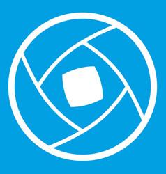 Semi-closed lens icon white vector