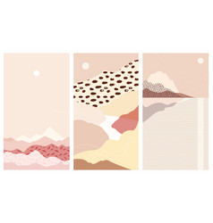set abstract mountain landscapes a warm vector image