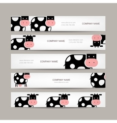 Set of banners with funny cow vector