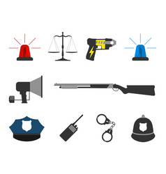 set of police elements equipment icons vector image