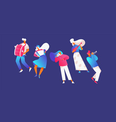 Set with street musicians playing music vector