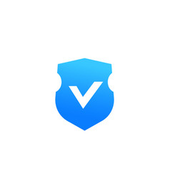 shield with checkmark security icon on white vector image