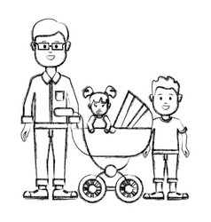 Silhouette man with glasses and his baby and son vector